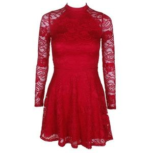 Material Girl Red Lace Three Quarter Sleeve Dress
